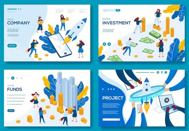 Nowoczesna ilustracja inwestycji w rozpoczęcie projektu biznesowego. ustaw koncepcje szablonów stron internetowych.
