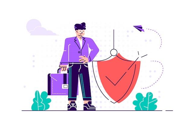 Nowoczesna ilustracja. mężczyzna trzyma tarczę osłaniającą przed atakami. ochrona, ubezpieczenie, od koncepcji niebezpieczeństw biznesowych.