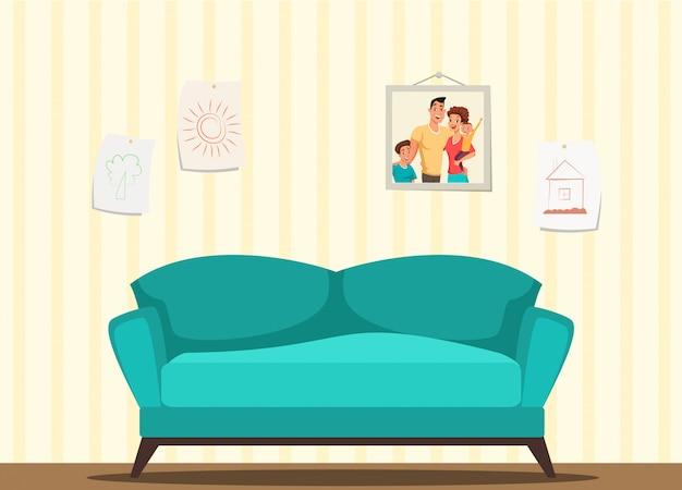Nowoczesna ilustracja wnętrza salonu, lazurowa przytulna sofa, rysunki dzieci w ramkach wiszące na ścianie, tapeta w beżowe paski