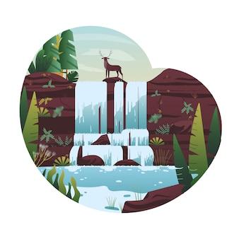 Nowoczesna ilustracja wodospadu