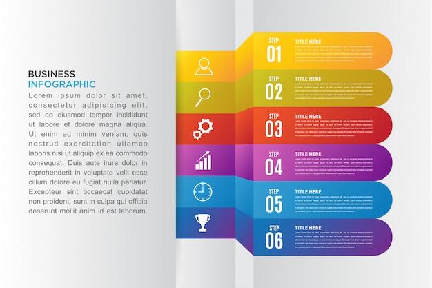 Nowoczesna infografika biznesowa z opcją 6 kroków