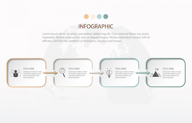 Nowoczesna infografika cztery kroki. element wykresu, wykres, schemat z 4 opcjami.