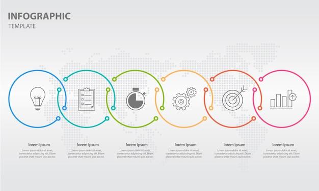 Nowoczesna infografika oś czasu 6 opcji