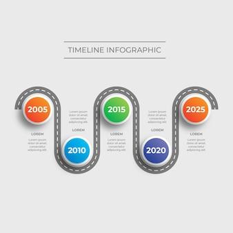 Nowoczesna infografika oś czasu drogi darmowych wektorów