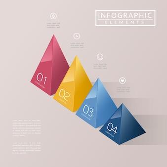 Nowoczesna Infografika Z Błyszczącymi Elementami Trójkątów 3d Premium Wektorów