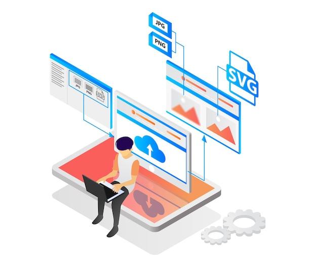 Nowoczesna izometryczna ilustracja wektorowa przedstawiająca przesyłanie obrazu z bitmapą lub plikiem wektorowym na strony internetowe