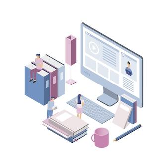 Nowoczesna izometryczna koncepcja edukacji online dla strony internetowej i strony mobilnej.