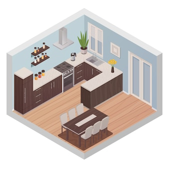 Nowoczesna izometryczna koncepcja wnętrza kuchni ze strefą gotowania i jadalnią dla sześciu osób