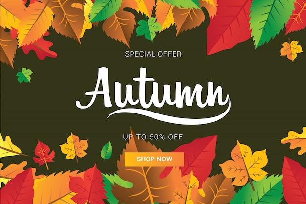 Nowoczesna jesień z pełnymi kolorowych liści na tle lub szablon banneru mediów społecznościowych wektor illustrtaion