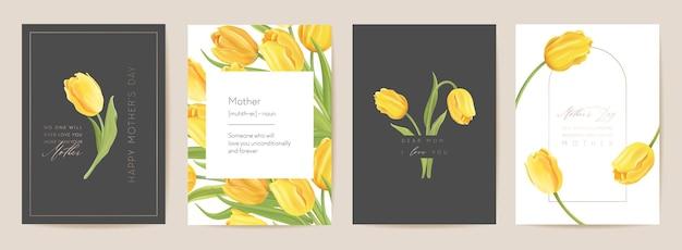 Nowoczesna karta świąteczna dzień matki. pocztówka mama i dziecko. ilustracja wektorowa kwiatowy wiosna. powitanie realistyczny szablon kwiatów tulipanów, tło kwiat, projekt strony letniej, okładka dla matek