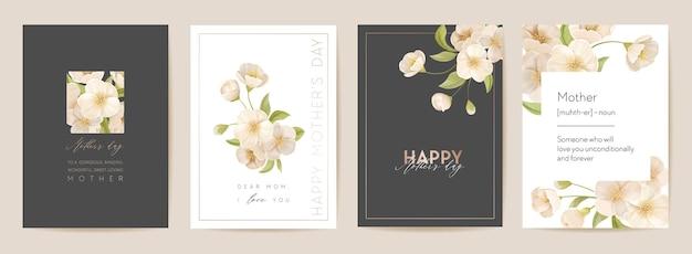 Nowoczesna karta świąteczna dzień matki. pocztówka mama i dziecko. ilustracja wektorowa kwiatowy wiosna. powitanie szablon realistyczne kwiaty wiśni sakura, tło kwiat, projekt strony letniej, okładka dla matek
