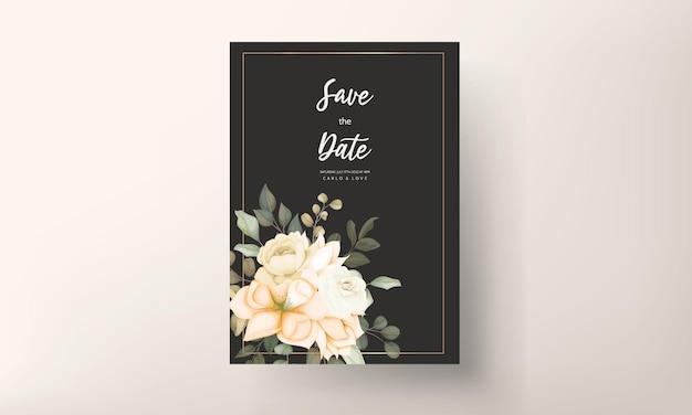 Nowoczesna karta zaproszenie na ślub z kwiatem i liśćmi