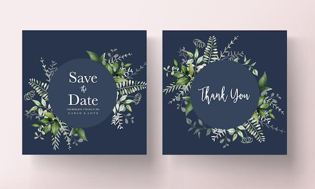 Nowoczesna karta zaproszenie na ślub z liśćmi akwareli