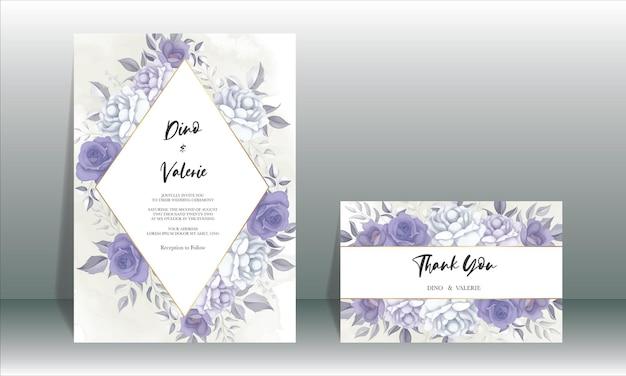 Nowoczesna karta zaproszenie na ślub z piękną fioletową dekoracją kwiatową