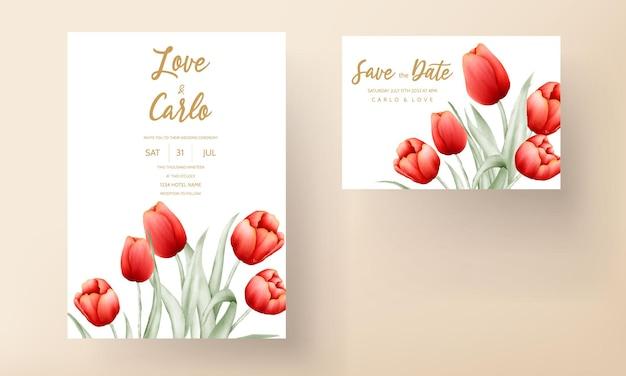Nowoczesna karta zaproszenie na ślub z pięknym czerwonym tulipanem kwiatem