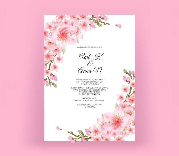 Nowoczesna karta zaproszenie na ślub z pięknym kwiatem wiśni