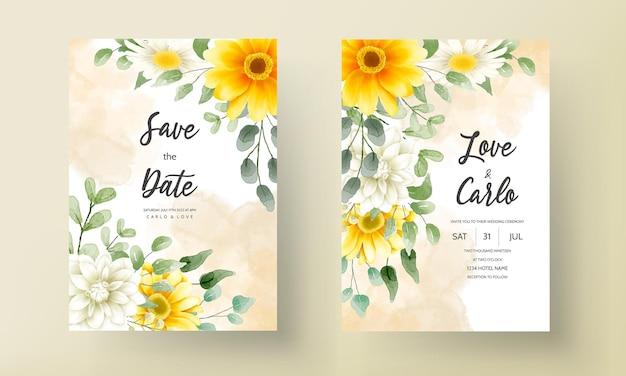 Nowoczesna karta zaproszenie na ślub z pięknymi akwarelowymi dekoracjami kwiatowymi