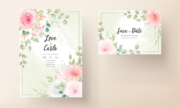Nowoczesna karta zaproszenie na ślub z pięknymi kwiatami