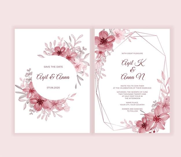 Nowoczesna karta zaproszenie na ślub z pięknymi różowymi kwiatami