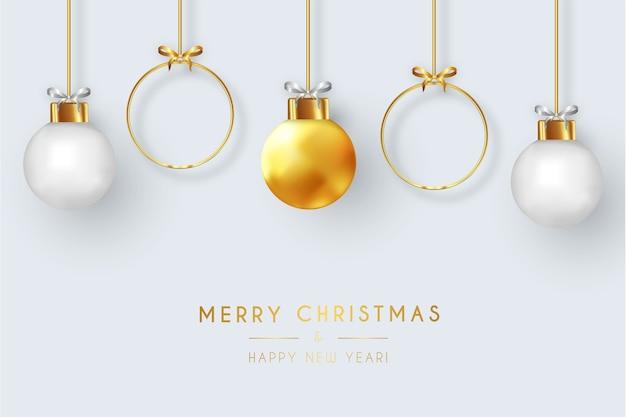 Nowoczesna kartka merry christmas z realistycznymi bombkami