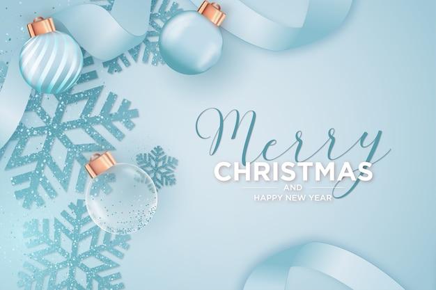 Nowoczesna kartka wesołych świąt i nowego roku z realistycznymi obiektami świątecznymi