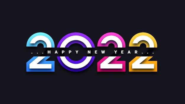 Nowoczesna kartka z życzeniami szczęśliwego nowego roku 2022