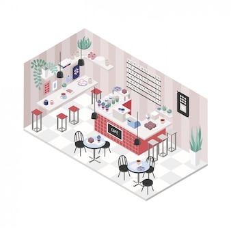 Nowoczesna kawiarnia, kawiarnia, wnętrze restauracji w stylu izometrycznym. kolorowa ilustracja