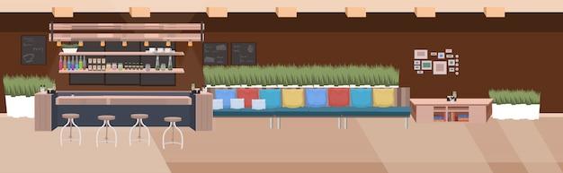 Nowoczesna kawiarnia pusta restauracja bez ludzi z meblami kawiarnia wnętrze płaskie poziome