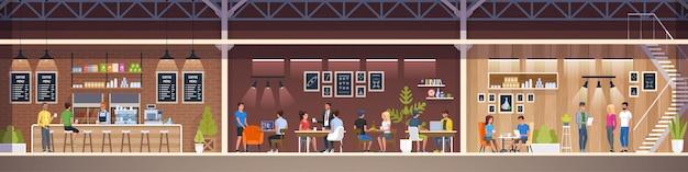 Nowoczesna kawiarnia. restauracja wewnętrzna. creative office coworking cent