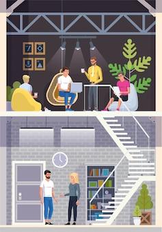 Nowoczesna kawiarnia. wnętrze restauracji. creative office coworking center. kampus uniwersytecki. kawiarnia