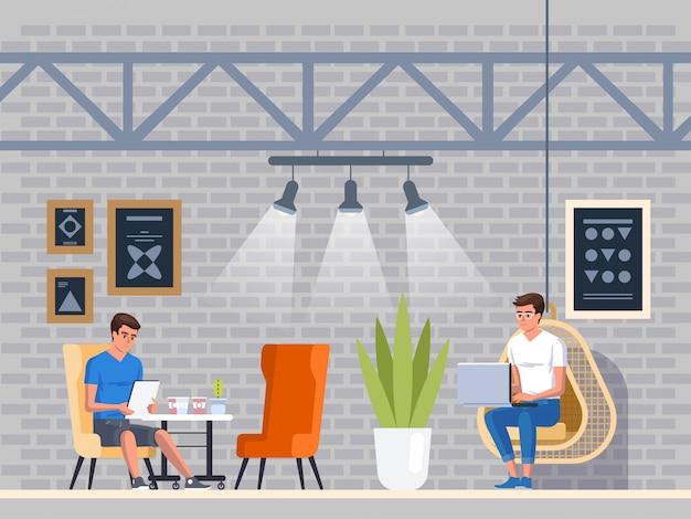 Nowoczesna kawiarnia. wnętrze restauracji. kreatywne centrum coworking fice. kampus uniwersytecki. kawiarnia