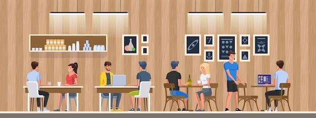 Nowoczesna kawiarnia z młodymi ludźmi. wnętrze restauracji