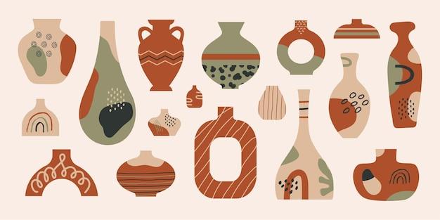 Nowoczesna kolekcja ceramicznych wazonów z abstrakcyjnymi różnymi kształtami i liniami doodle