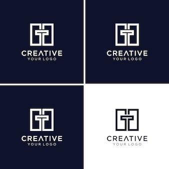 Nowoczesna kolekcja logo monogram litera t dla firmy