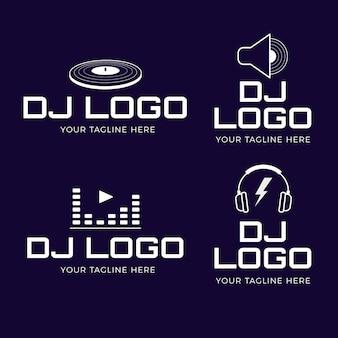 Nowoczesna kolekcja płaskich logo dj