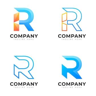 Nowoczesna kolekcja początkowa litera r w stylu gradientu