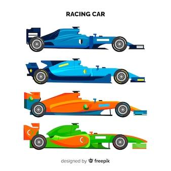 Nowoczesna kolekcja samochodów wyścigowych formuły 1