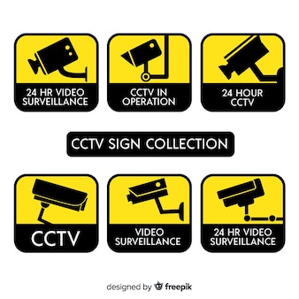 Nowoczesna kolekcja znak cctv z płaskiej konstrukcji