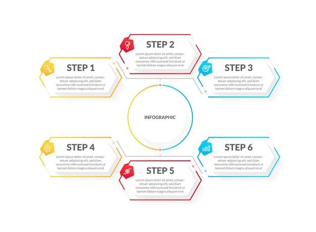 Nowoczesna, kolorowa, 6-stopniowa plansza na osi czasu. idealny do prezentacji, diagramów procesów, przepływu pracy i banerów