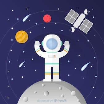 Nowoczesna kompozycja astronautów o płaskiej konstrukcji