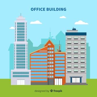 Nowoczesna kompozycja budynków biurowych z płaskiej konstrukcji