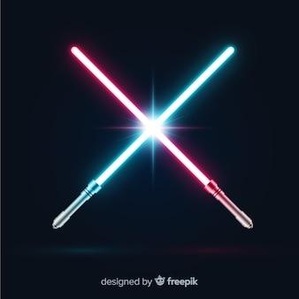 Nowoczesna kompozycja z dwoma skrzyżowanymi mieczy świetlnych