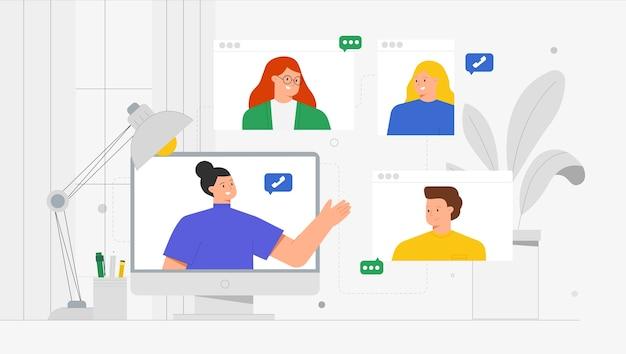 Nowoczesna komunikacja modna ilustracja koncepcja rozmowy wideo. młody mężczyzna i kobiety za pomocą połączeń wideo i wiadomości, rozmawiając aplikację internetową na laptopie lub smartfonie.