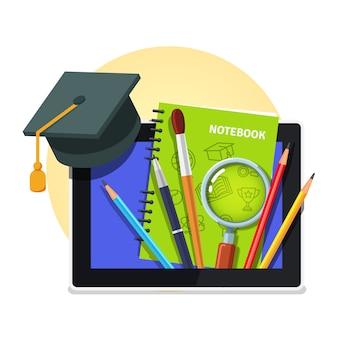 Nowoczesna koncepcja edukacji. komputer typu tablet