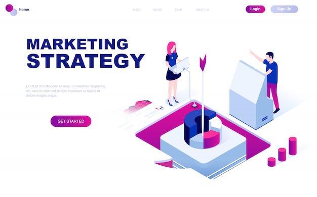 Nowoczesna koncepcja izometryczna płaskiej konstrukcji strategii marketingowej