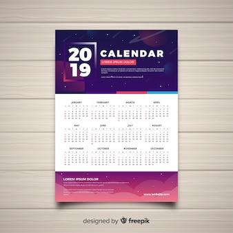 Nowoczesna koncepcja kalendarza 2019