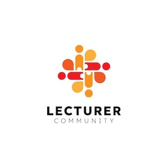 Nowoczesna koncepcja logo z bańką i ludźmi dla społeczności i organizacji