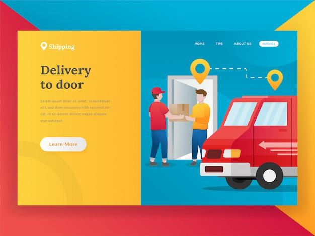 Nowoczesna koncepcja płaskiej dostawy przesyłki online