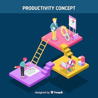 Nowoczesna koncepcja produktywności z widokiem izometrycznym