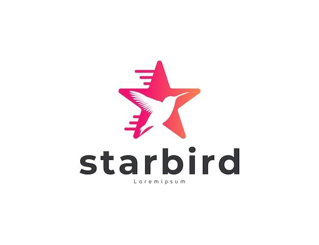 Nowoczesna koncepcja projektowania logo ptaków i gwiazd